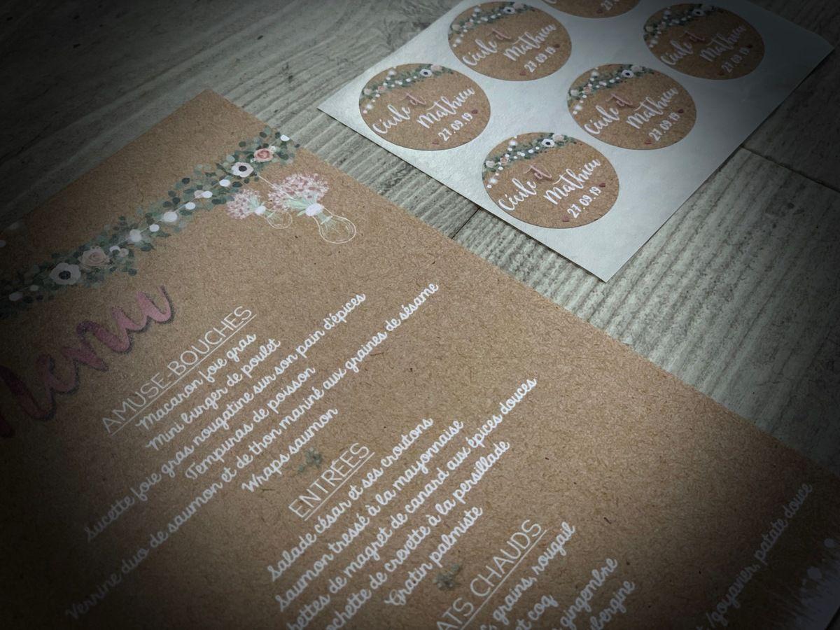 options de table mariage menu simple Reto 12x17cm assorti au faire part de mariage, impression fond kraft, #efdcbysoscrap étiquette cadeau invité ronde adhésive 3cm à personnaliser