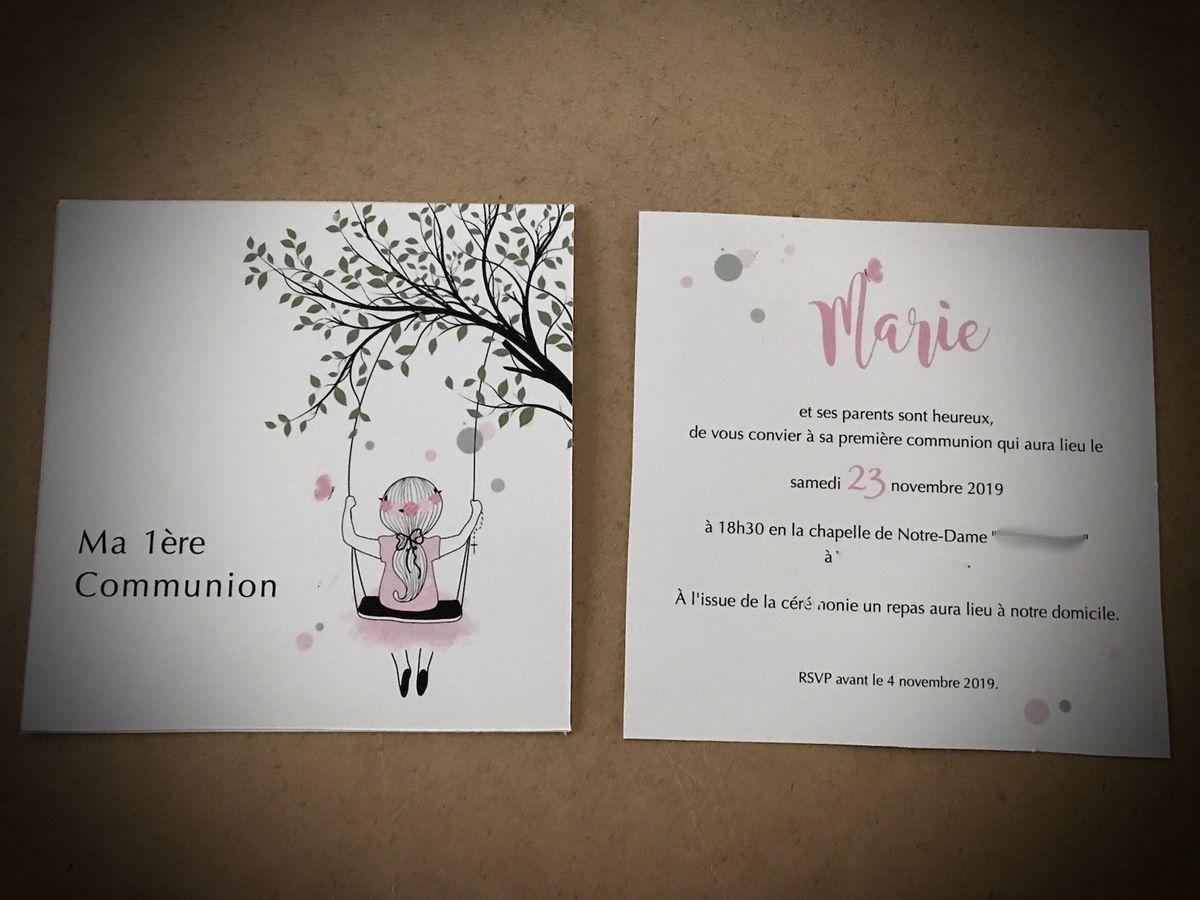faire part invitation 1ère communion petite fille nature recto verso 13,5cm #efdcbysoscrap à personnaliser couleur et texte