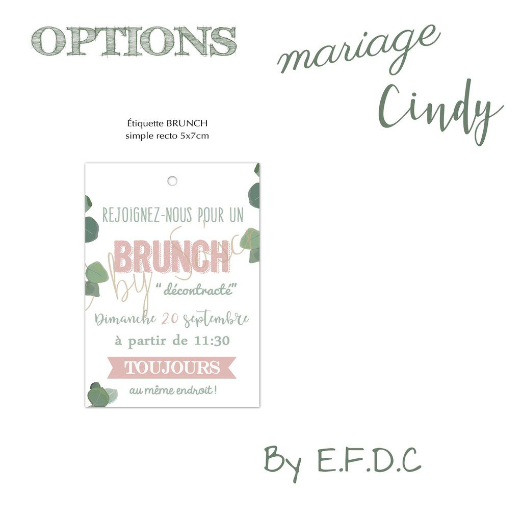 option assortie au faire part de mariage étiquette brunch simple recto  #efdcbysoscrap