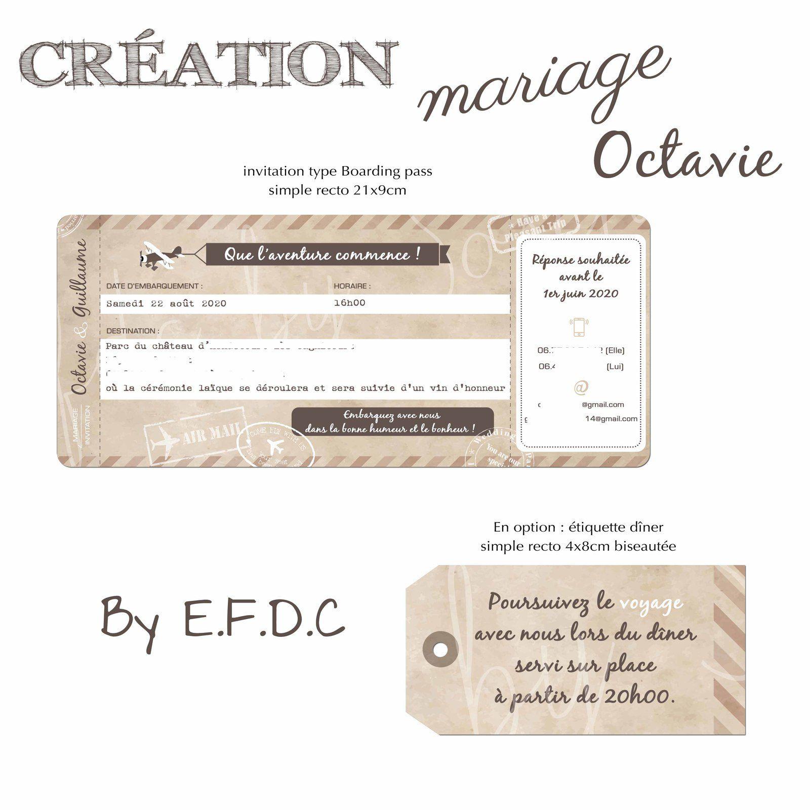 invitation mariage type boarding pass billet d'avion simple recto 21x9cm à intégrer dans pochette #efdcbysoscrap thème voyage rétro vintage avec étiquette biseautée pour le diner