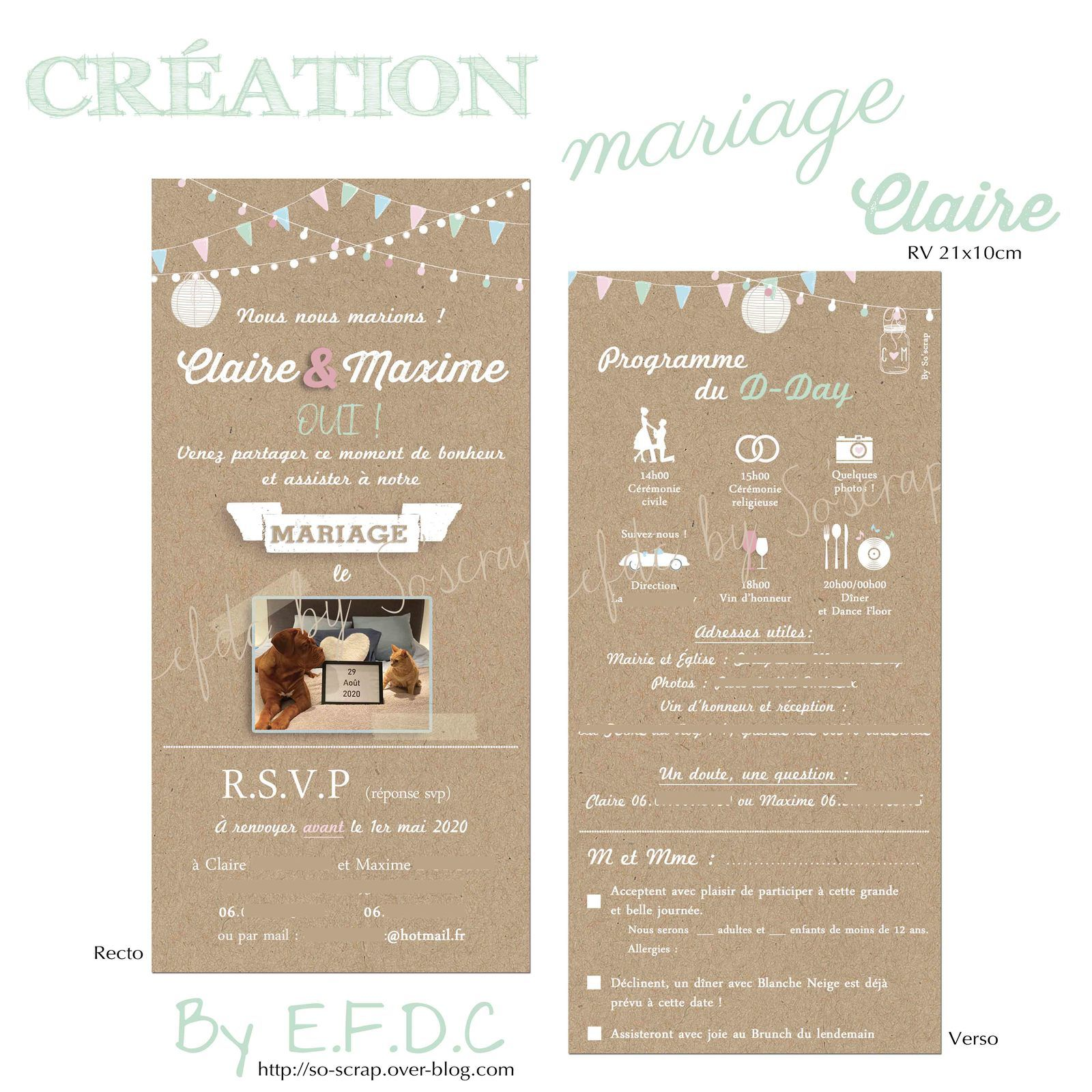 faire part invitation papeterie carterie mariage originale et sur mesure #efdcbysoscrap impression fond type kraft recto verso 21x10cm pastels à personnaliser programme avec pictogrammes horaires et adresses du jour j photo thème champêtre guinguette RSVP (coupon réponse)