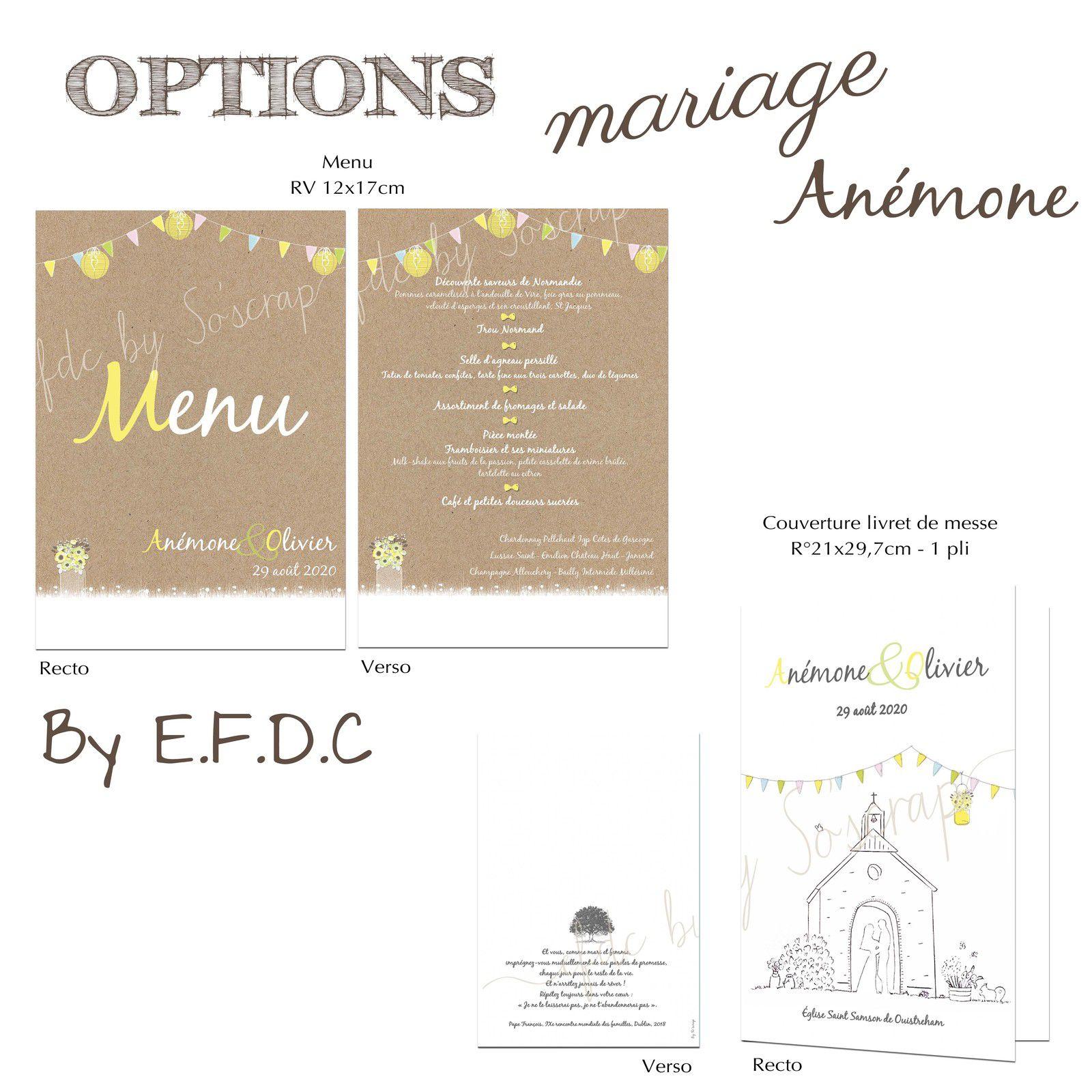 options mariage menus RV et couverture de livret de messe personnalisé (dessin cliente) #efdcbysoscrap