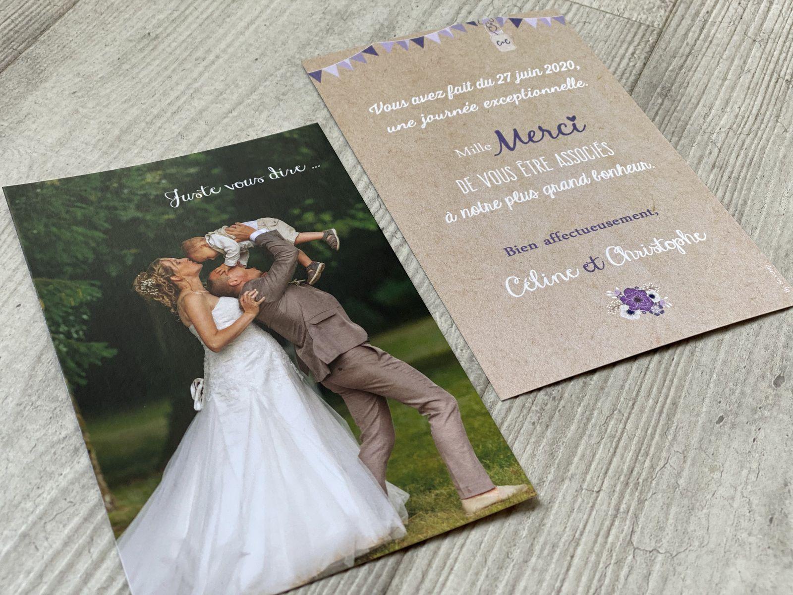 papeterie carte remerciement mariage, recto verso 10x15cm, thème champêtre chic, nature, fanions, lampions, dentelle texte et couleur à personnaliser camaïeu de mauve violet #efdcbysoscrap