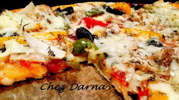 بيتزا بالفلفل الدجاج و الروكفور                     pizza au poulet poivron et roquefort