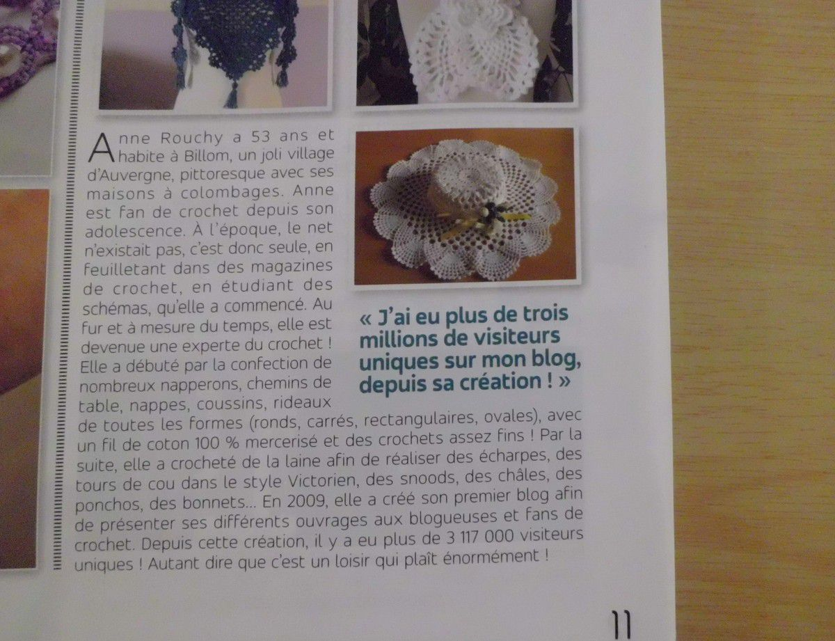 """Superbe article sur mon blog crochet , dans le magazine """" ATELIER DECO & CREATIONS """" !"""