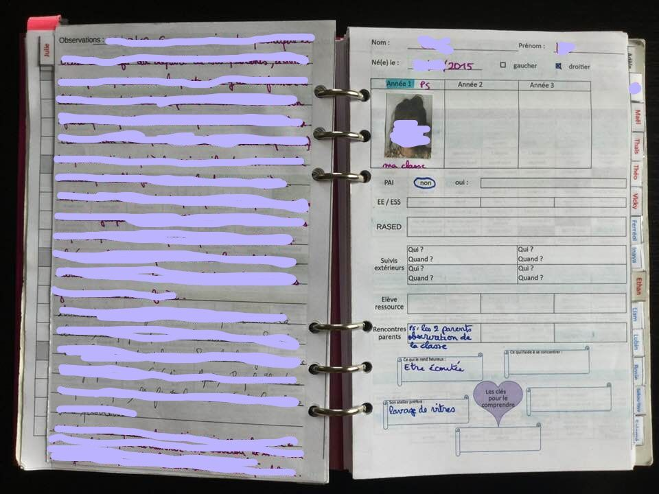 A gauche, mes notes sur l'élève précédente.