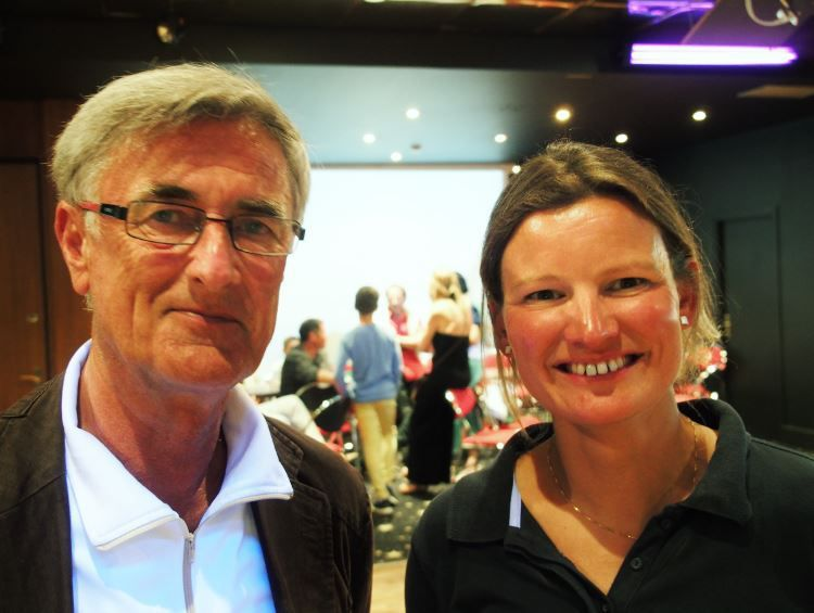 Claire Pruvot, skipper de Port Caen Ouistreham, avec Gérard Delaunay, vice-président de la CCI de Caen-Ouistreham