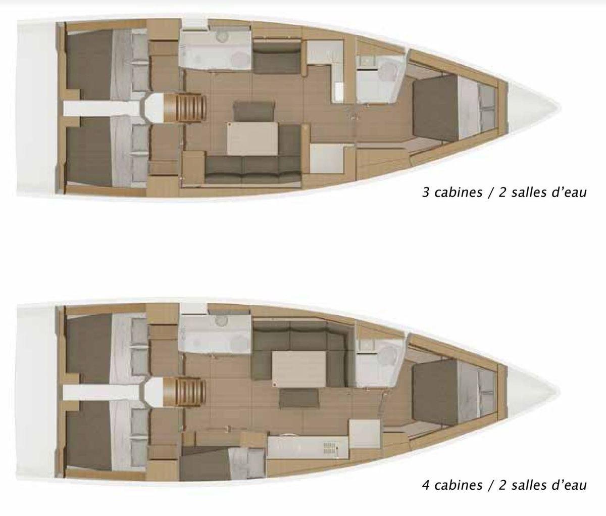 Les deux plans d'aménagement du Dufour 430 Grand Large