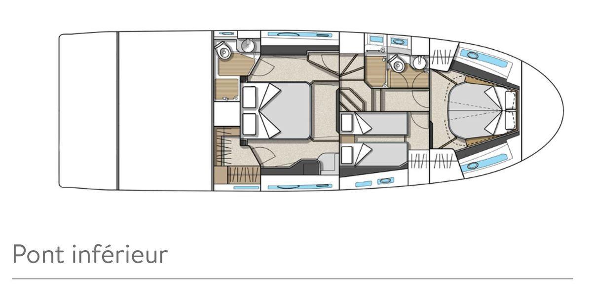 Plan d'aménagement intérieur du Bénéteau Monte Carlo 52