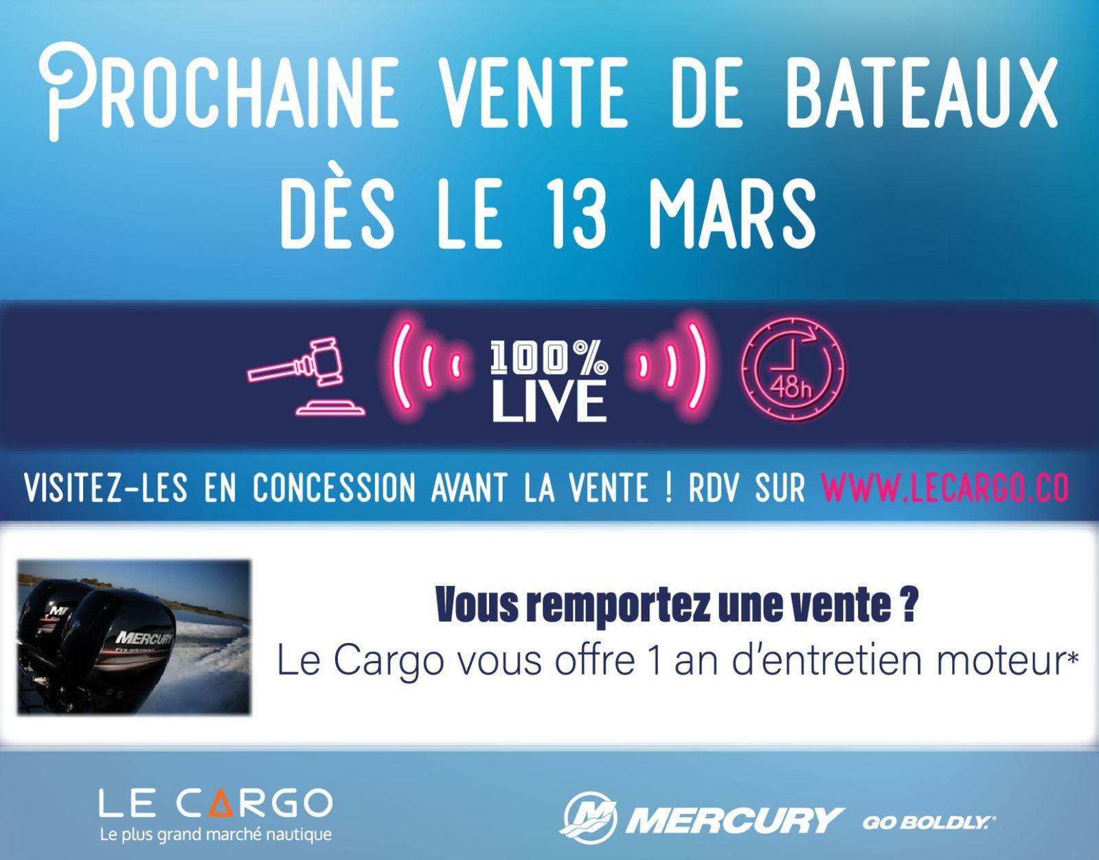 Vente live privée de 115 bateaux d'occasion, du 13 au 15 Mars, sur le Cargo.co !!