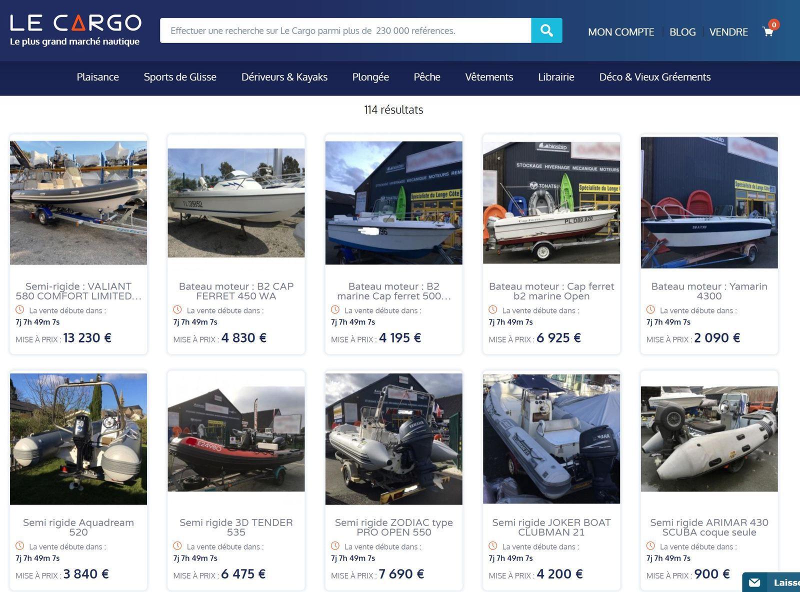 120 bateaux d'occasion en vente privée, du 29 au 31 Mai, sur le Cargo.co !