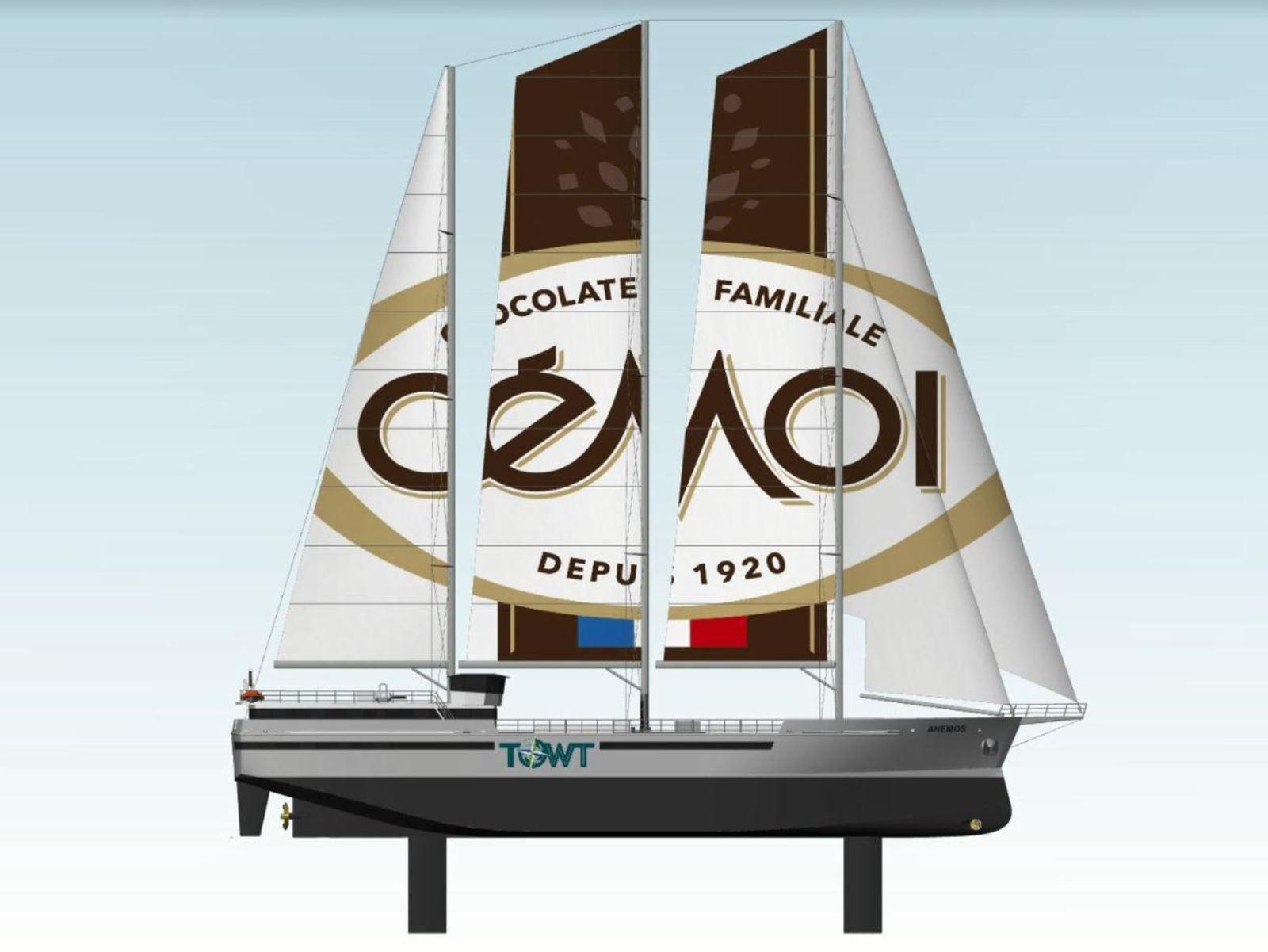 4 cargos à voiles, pour transporter le cacao du chocolatier français Cémoi