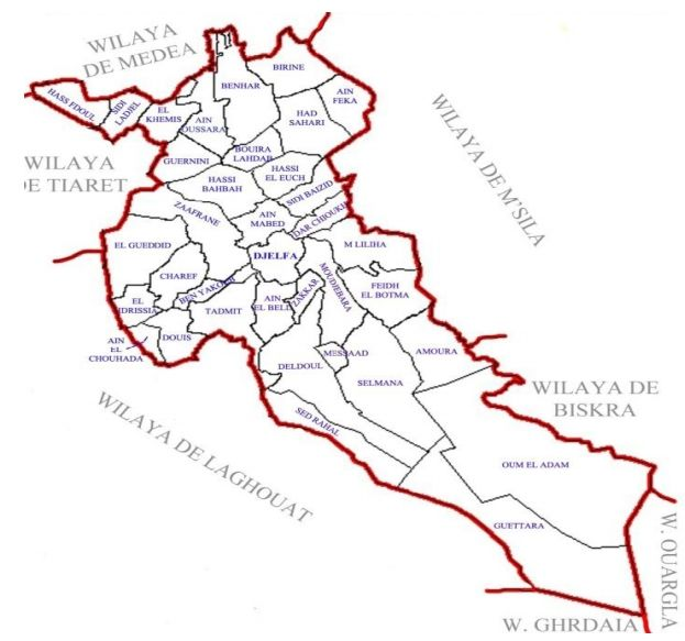 Découpage administratif de la wilaya de Djelfa