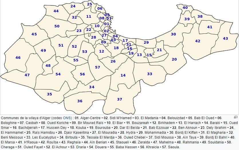 Découpage administratif de la wilaya d'Alger