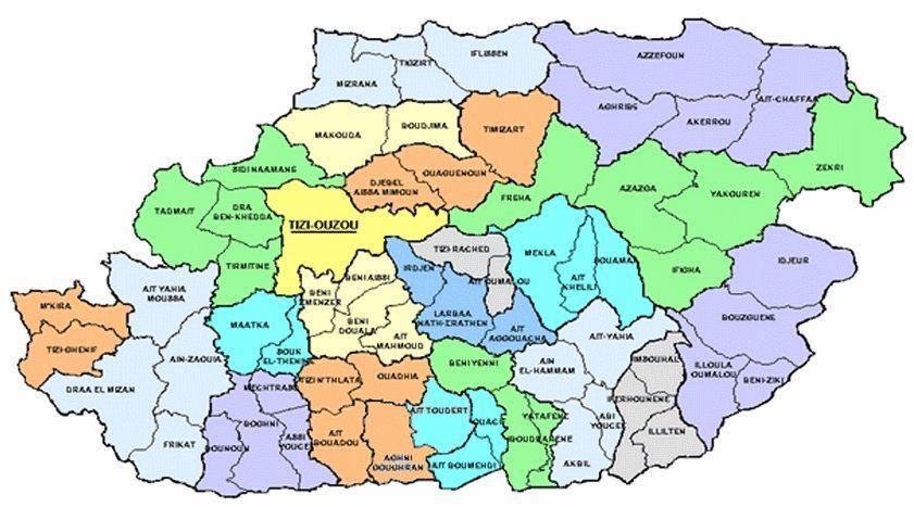 découpage administratif de la wilaya de Tizi-Ouzou