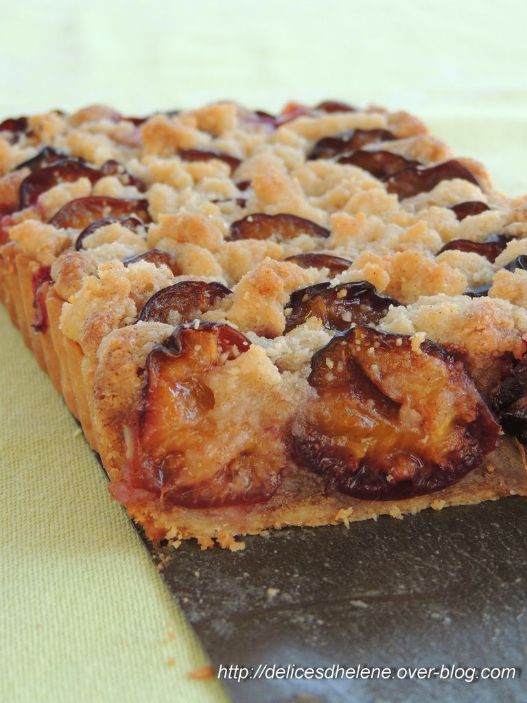 TARTE ALSACIENNE AUX QUESTCHES, CRUMBLE CANNELLE