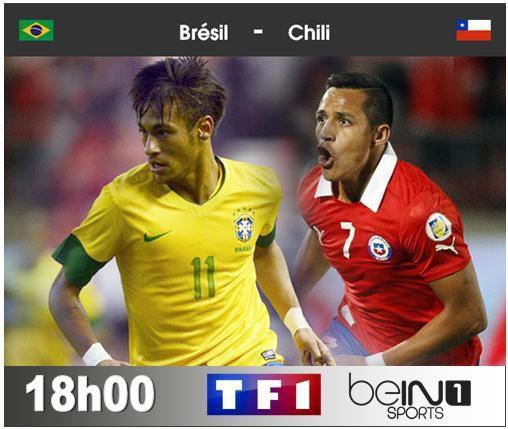 [Sam 28 Juin] Coupe du Monde 2014 (8ème) : Brésil / Chili (18h00) en direct sur TF1 et BeIN SPORTS 1 !
