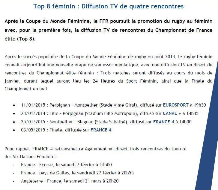 [Infos TV] Rugby - Le premier rendez-vous du Top 8, le championnat de France Féminin, sera à suivre en direct ce dimanche sur Eurosport !