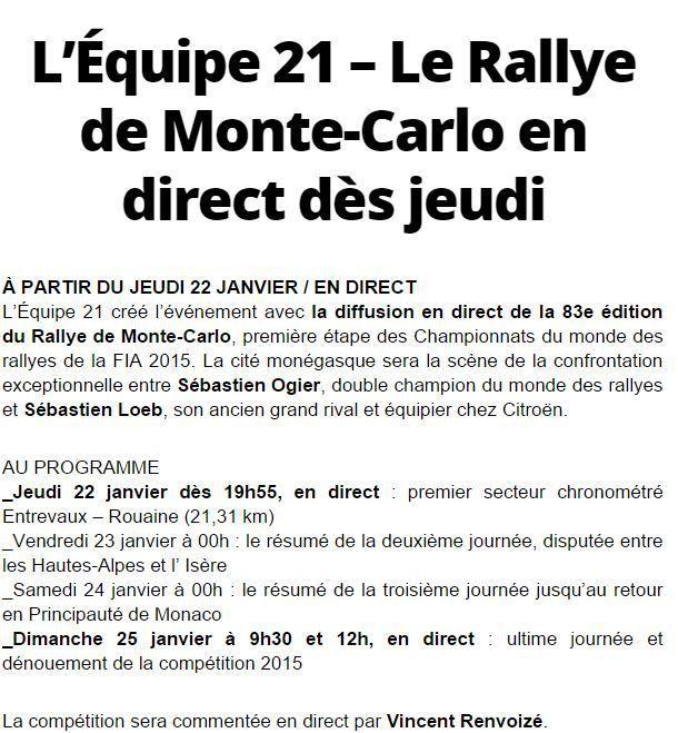[Infos TV] Le Rallye de Monte-Carlo sera à suivre en direct dès ce dimanche 25 janvier sur l'Equipe 21 !