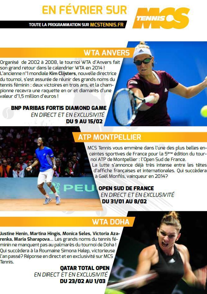 [Info TV] Les Temps Forts du mois de Février 2015 à venir sur Ma Chaîne Sport Tennis !