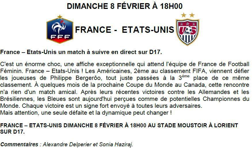 [Dim 08 Fév] Foot Féminin (Match Amical) France / Etats-Unis, à suivre en direct à 18h00 sur D17 !
