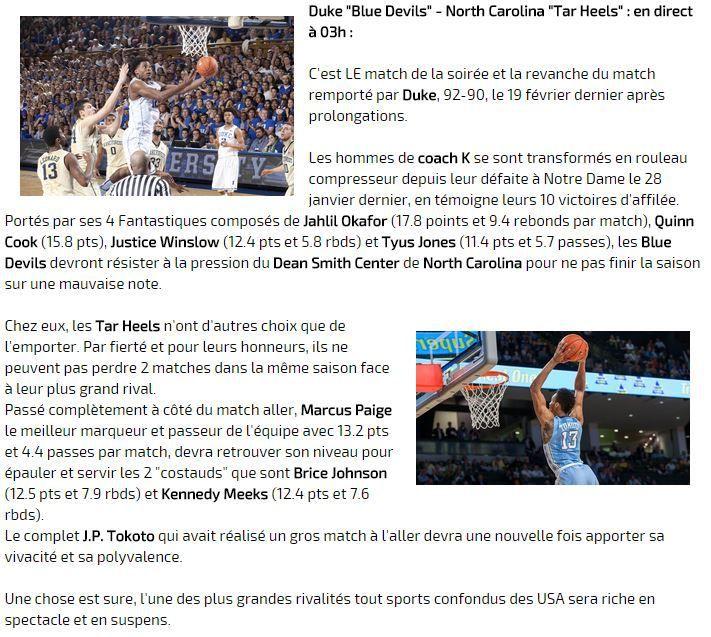 [Sam 07 Mar] Basket - Grande soirée NCAA avec les derniers chocs de la saison régulière à suivre dès 22h15 sur Ma Chaîne Sport !