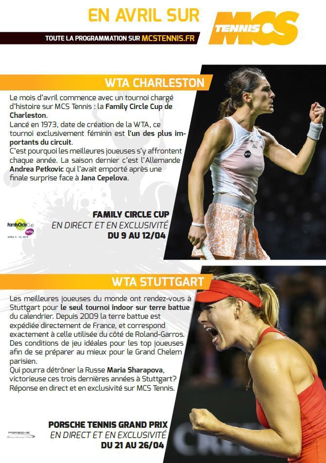 [Info TV] Les Temps Forts du mois d'Avril 2015 à venir sur Ma Chaîne Sport Tennis !
