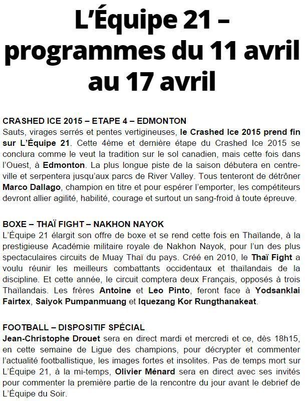 [Infos TV] Football, Boxe, Crashed Ice ! Découvrez les Temps forts à suivre sur l'Equipe 21 la semaine du 11 au 17 avril 2015 !