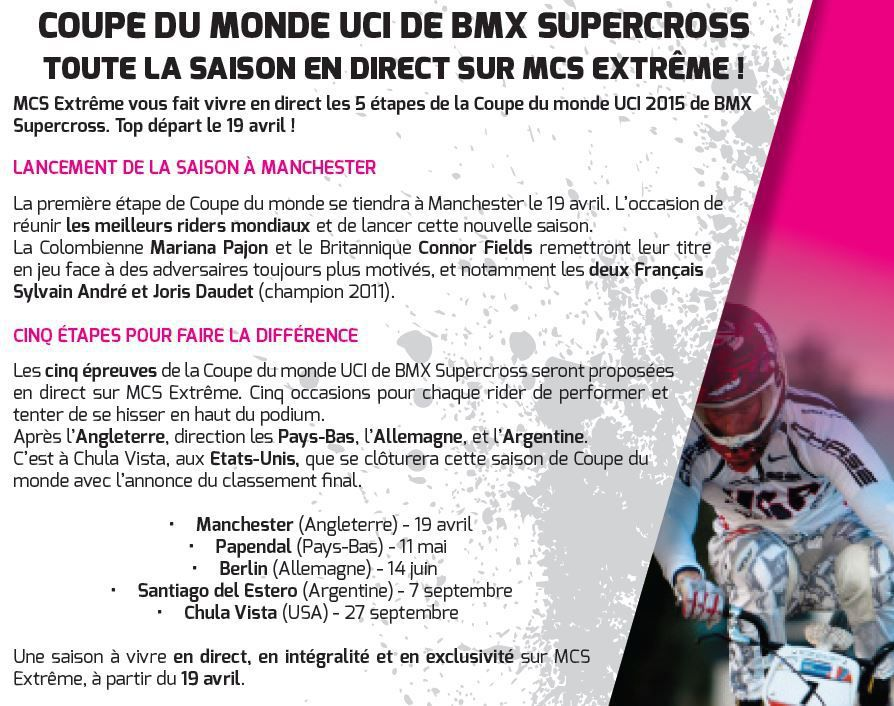 [Infos TV] La Coupe du monde UCI 2015 de BMX Supercross à suivre en direct sur Ma Chaîne Sport Extrême !