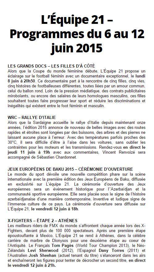 [Infos TV] Rallye, Jeux Européens, X-Fighters ! Découvrez les Temps forts à suivre sur l'Equipe 21 la semaine du 06 au 12 juin 2015 !