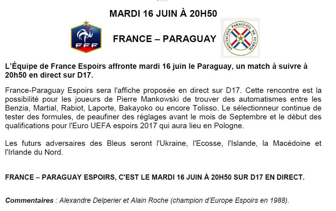 [Mar 16 Juin] Football (Match Amical ) France Espoirs / Paraguay, à suivre en direct à 20h50 sur D17 !