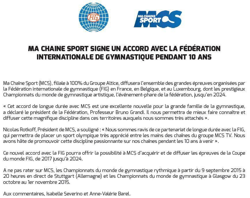 [Droits TV] Un partenariat de 10 ans entre Ma Chaîne Sport et la Fédération Internationale de Gymnastique !