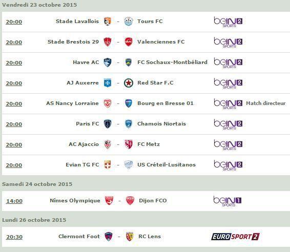 [Infos TV] Football - Découvrez le Programme TV de la 12ème Journée de Ligue 2 !