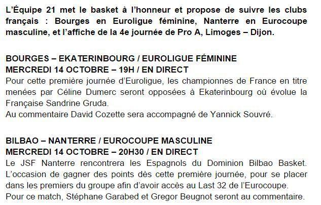 [Mer 14 Oct] Basket (Coupe d'Europe) Bourges et Nanterre, à suivre en direct sur l'Equipe 21 !