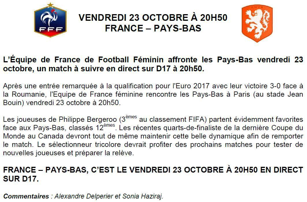 [Ven 23 Oct] Foot Féminin (Euro 2017) France / Pays-Bas, à suivre en direct à 20h50 sur D17 !