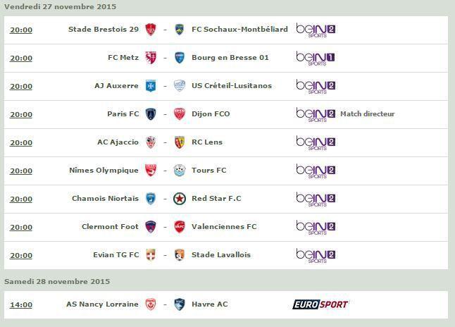 [Infos TV] Football - Découvrez le Programme TV de la 16ème Journée de Ligue 2 !