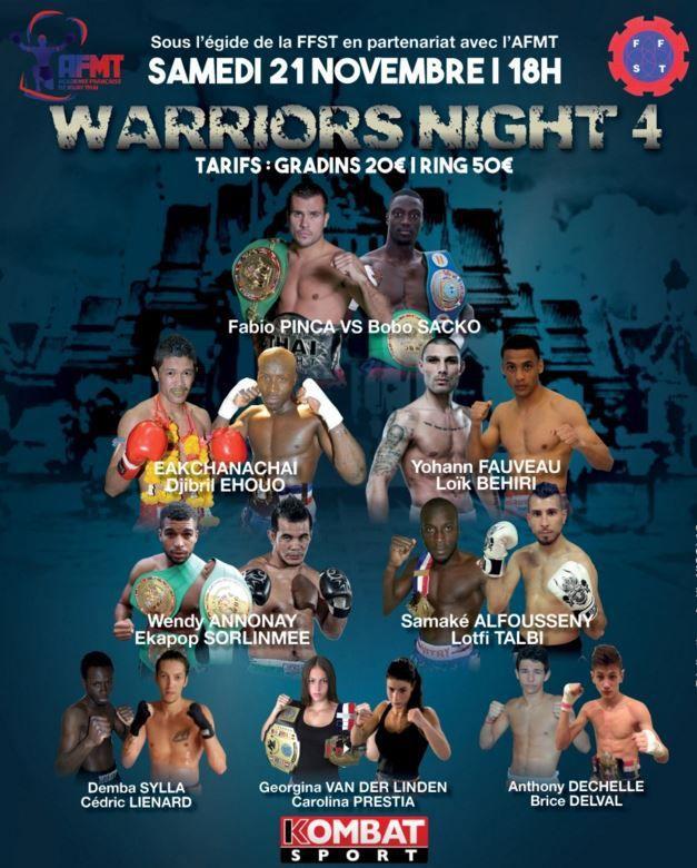 """[Sam 21 Nov] Muay Thaï - La soirée du """"Warriors Night 4"""" à suivre en direct dès 20h30 sur Kombat Sport !"""