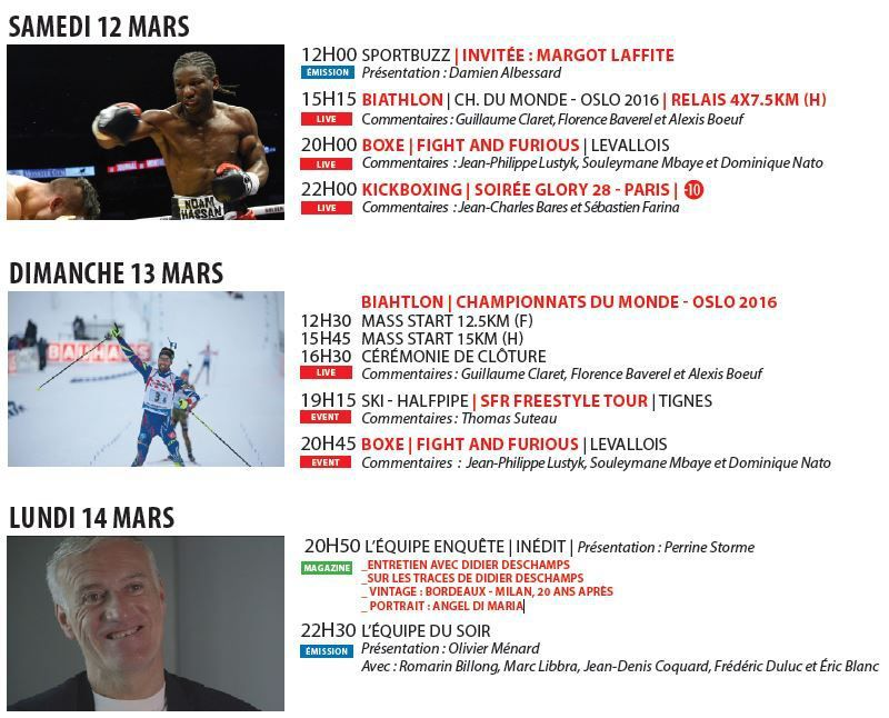 [Infos TV] L'Equipe 21 ! Kickboxing, Biathlon, Boxe ! Découvrez les temps forts à suivre la semaine du 12 au 18 mars 2016 !