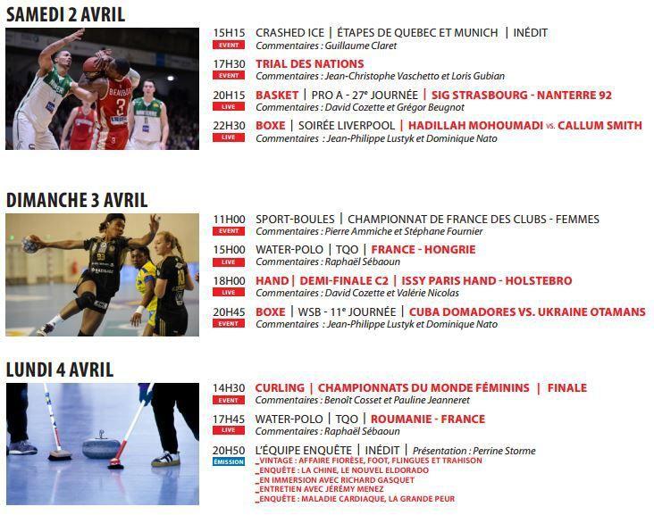 [Infos TV] L'Equipe 21 ! Basket, Boxe et Cyclisme, découvrez les temps forts à suivre la semaine du samedi 02 au vendredi 08 avril 2016 !