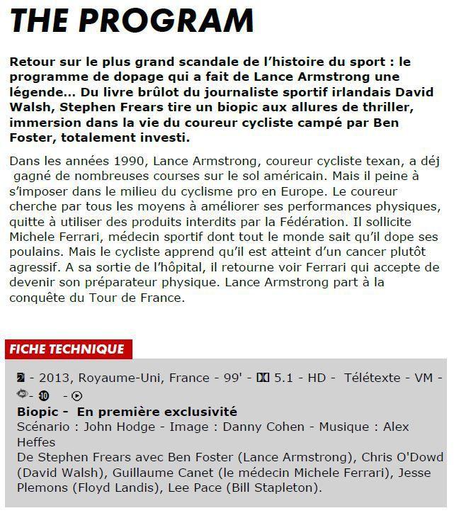 """[Mar 19 Juil] Le film sur Lance Armstrong """"The Programm"""" à suivre en première diffusion à 20h55 sur Canal Plus !"""