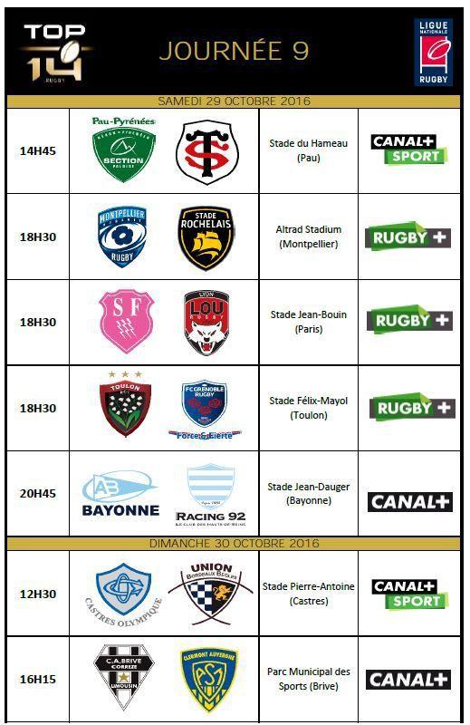[Infos TV] Rugby - Découvrez le programme TV de la 9ème Journée du Top 14 (29 & 30/10) !