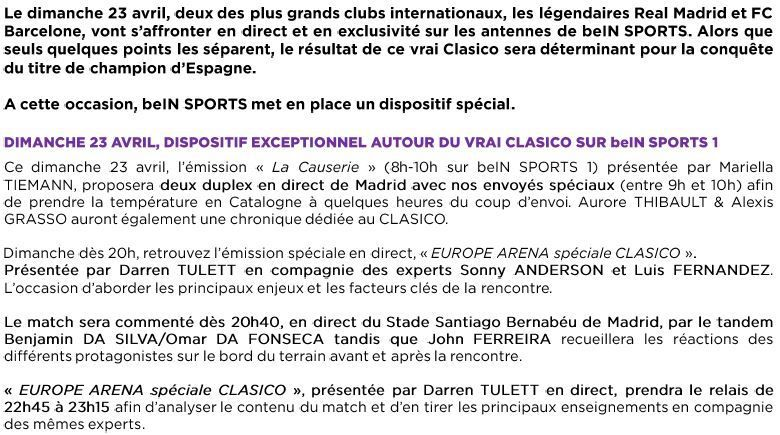 [Infos TV] Dispositif Exceptionnel sur beIN SPORTS pour le Clasico de dimanche prochain !