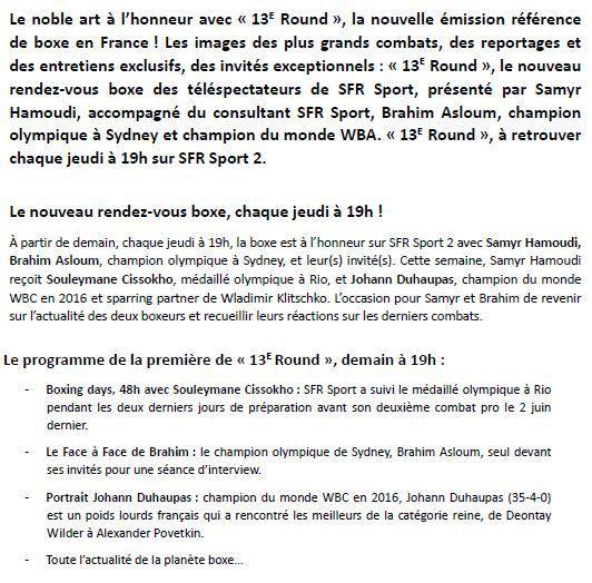 """[Infos TV] """"13ème Round"""", la nouvelle émission Boxe à retrouver le jeudi sur SFR Sport 2 !"""