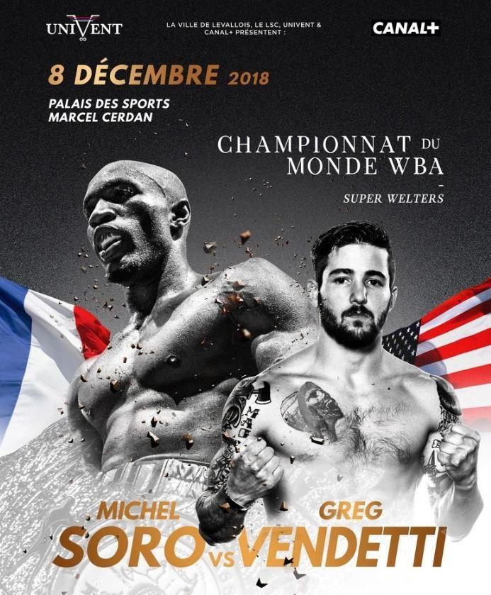[Boxe] Michel Soro vs. Greg Vendetti à suivre ce samedi 08 décembre sur Canal Plus !