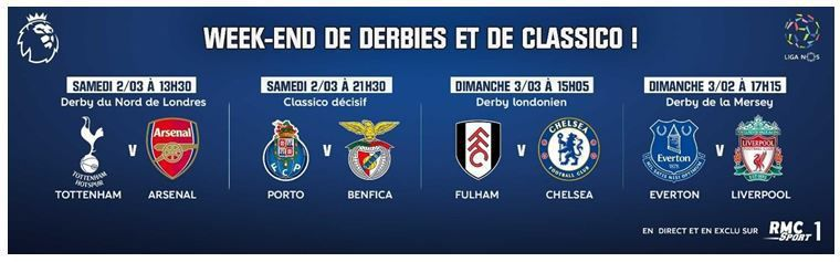 [Foot] Week-end de Derbies et de Classicos sur RMC Sport 1 !