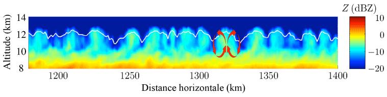 Réflectivité du radar qui opère dans le domaine des micro-ondes (94 GHz). La ligne blanche indique le sommet de la structure nuageuse qui serait vu par un oeil nu surplombant le nuage. Les flèches rouges indiquent schématiquement le mécanisme avancé pour expliquer la formation des lobes nuageux : un fort refroidissement radiatif au sommet du nuage conduit à une couche de mélange turbulent et ultimement à l'apparition de lobes.