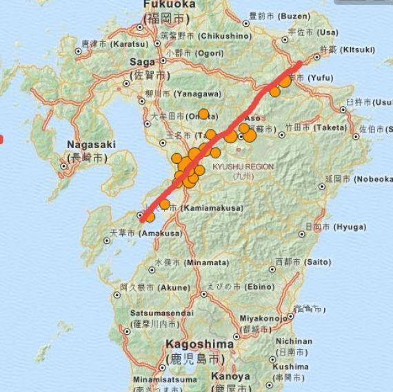 Japon: l'île de Kyushu (extrême sud), sous la menaçe potentielle de se séparer en deux