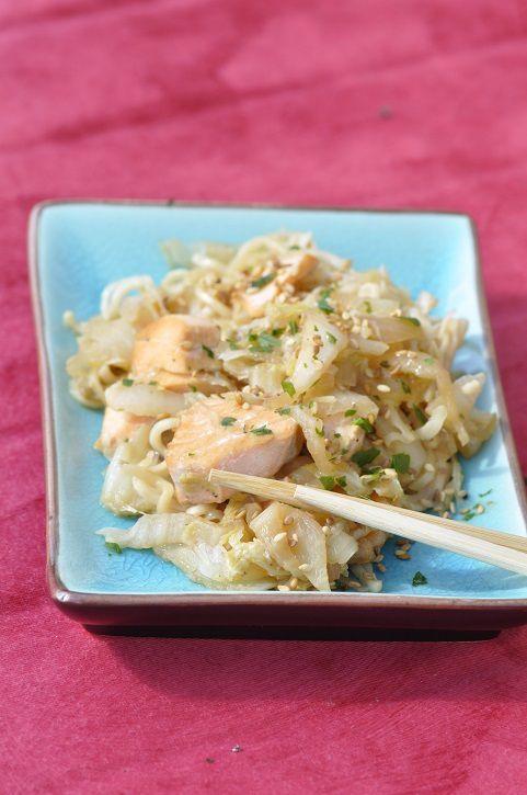 Poelée de chou chinois au saumon
