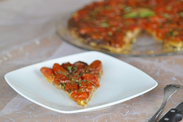 Tarte tatin de tomates cerises et chèvre