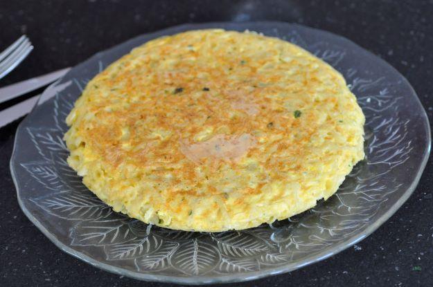 Frittata de pâtes fourrée jambon raclette